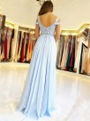 A-Line/Princess Sleeveless Off-the-Shoulder Floor-Length Applique Chiffon Dresses
