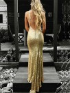 Trumpet/Mermaid V-neck Sleeveless Floor-Length Ruffles Sequins Dresses