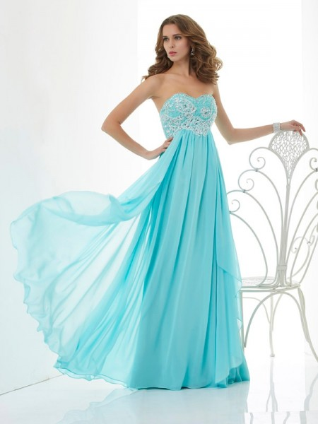 A-Line Beading Sweetheart Chiffon Prom Dresses