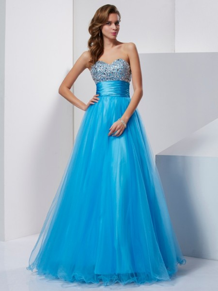 A-Line Sweetheart Beading Tulle Prom Dresses