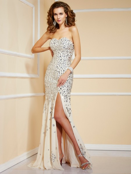 Sheath Sweetheart Beading Chiffon Prom Dresses