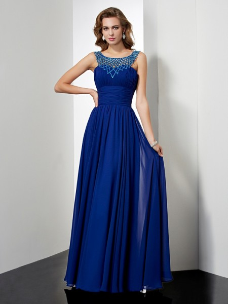 Empire High Neck Beading Chiffon Prom Dresses