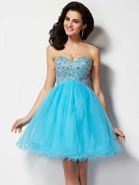 A-Line Sweetheart Short Homecoming Dresses Beading Tulle Homecoming Dresses