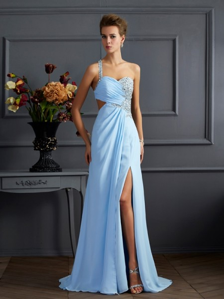 Sheath One-Shoulder Beading Chiffon Prom Dresses