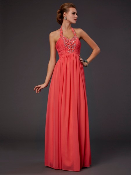 A-Line Halter Hand-Made Flower Chiffon Prom Dresses