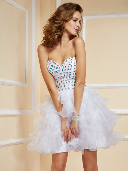 A-Line Sweetheart Rhinestone Short Organza Homecoming Dresses