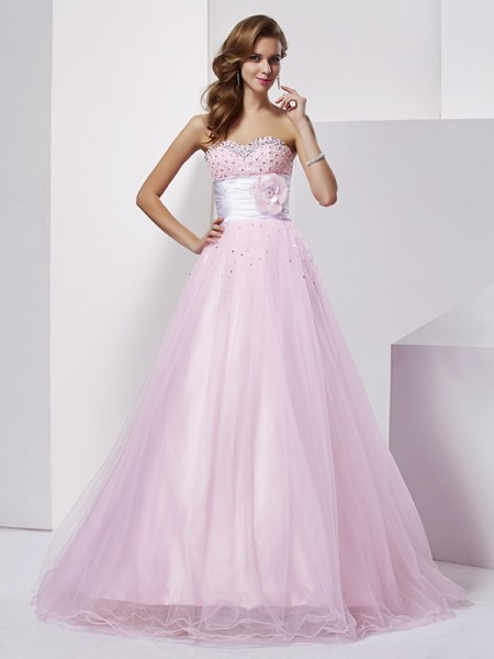 Ball Gown Strapless Beading Elastic Woven Satin Quinceanera Dresses