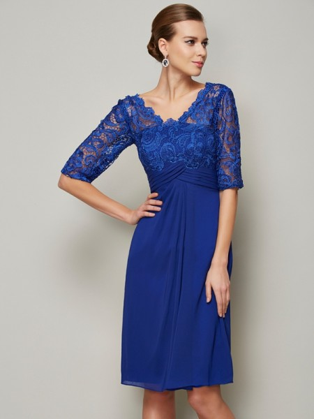 Sheath V-neck Lace Short Chiffon Mother of the Bride Dresses