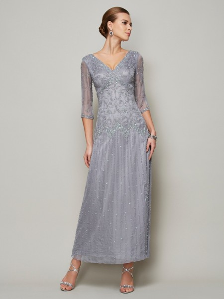 Sheath V-neck Beading Elastic Woven Satin Mother of the Bride Dresses
