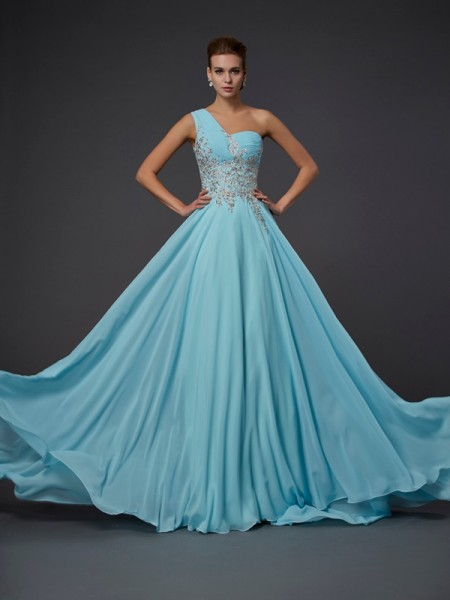 A-Line One-Shoulder Ruffles Chiffon Prom Dresses