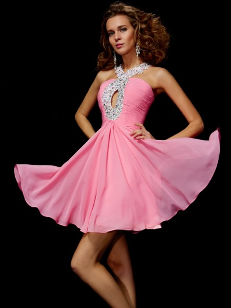 A-Line V-neck Beading Sequin Short Chiffon Homecoming Prom Dresses