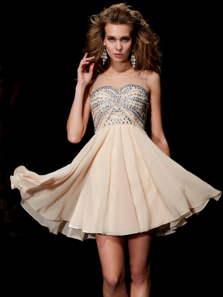 A-Line Scoop Beading Chiffon Short Homecoming Dresses