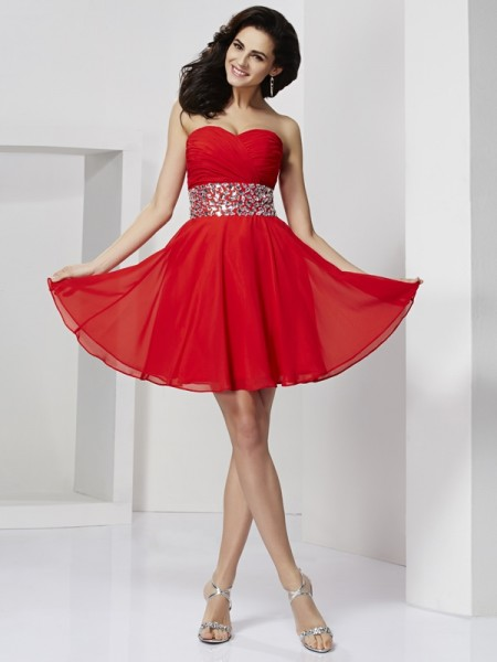 A-Line Sweetheart Rhinestone Chiffon Short Homecoming Dresses