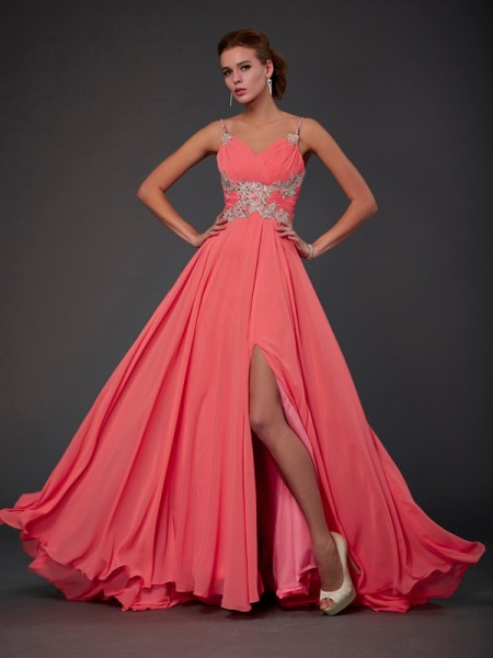A-Line Scoop Lace Chiffon Prom Dresses