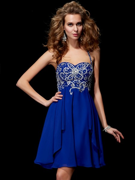 A-Line Halter Beading Chiffon Short Homecoming Dresses
