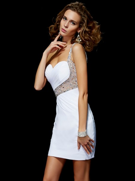 A-Line One-Shoulder Sequin Chiffon Short Homecoming Dresses