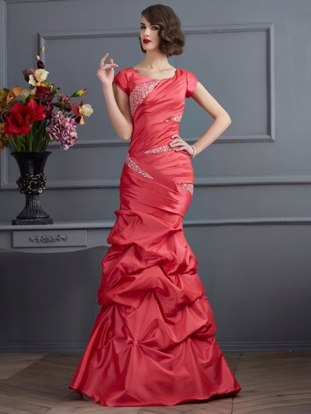 Mermaid Scoop Beading Taffeta Prom Dresses