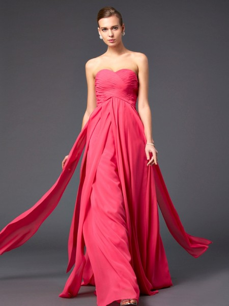 Sheath Chiffon Sweetheart Ruffles Prom Dresses