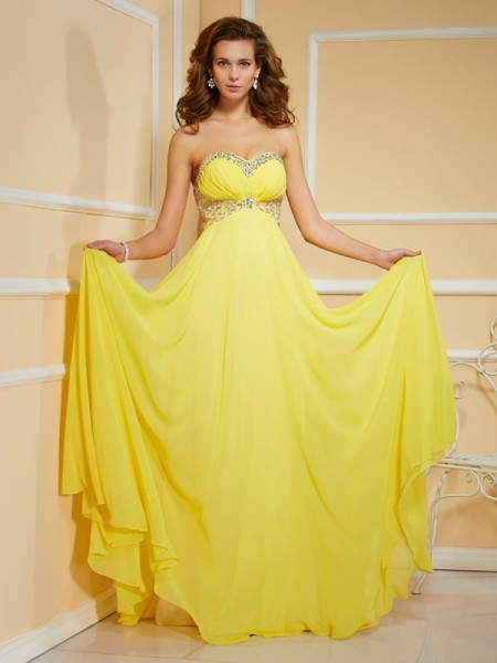Sheath Chiffon Sweetheart Ruffles Ruched Prom Dresses