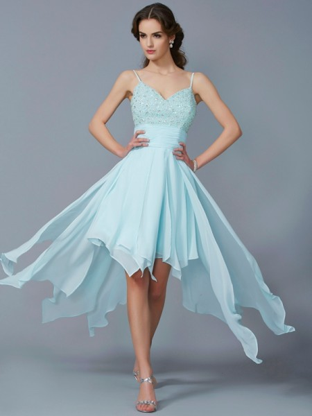 A-Line Chiffon Spaghetti Straps Beading High Low Homecoming Dresses