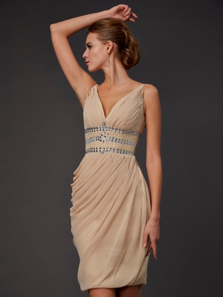 Sheath V-neck Beading Short Chiffon Homecoming Dresses