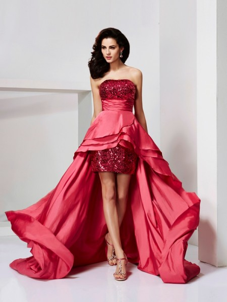 A-Line Strapless Lace High Low Taffeta Prom Dresses