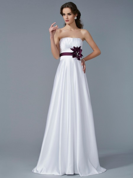 A-Line Strapless Hand-Made Flower Satin Prom Dresses