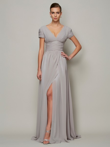 A-Line V-neck Chiffon Mother of the Bride Dresses