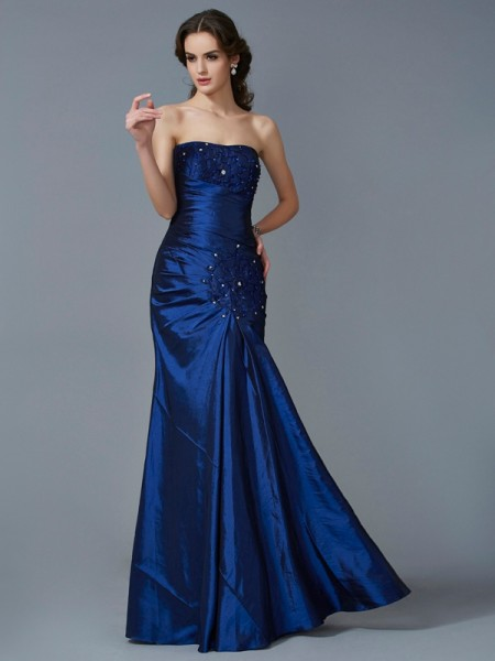 Mermaid Strapless Applique Taffeta Prom Dresses