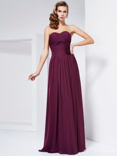 Sheath Sweetheart Hand-Made Flower Chiffon Prom Dresses