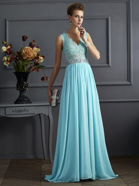 A-Line Straps Beading Lace Chiffon Prom Dresses