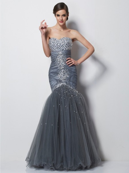 Mermaid Sweetheart Beading Net Prom Dresses