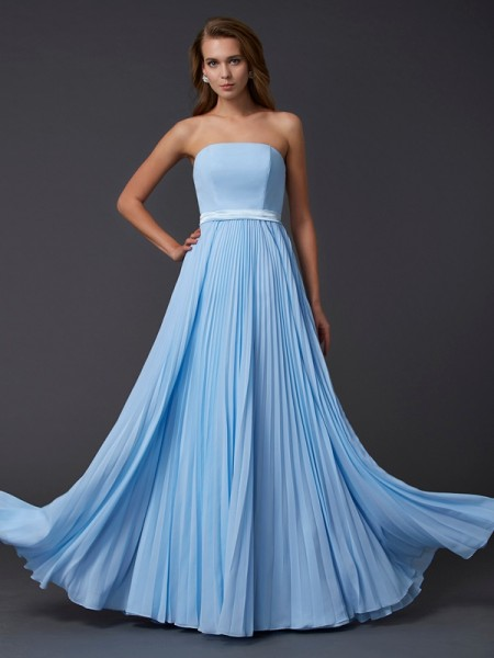 A-Line Strapless Ruched Chiffon Prom Dresses