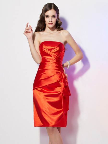 Sheath Strapless Pleats Short Elastic Woven Satin Prom Dresses