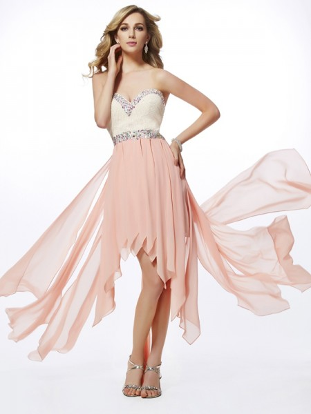 A-Line Sweetheart Beading High Low Chiffon Prom Dresses