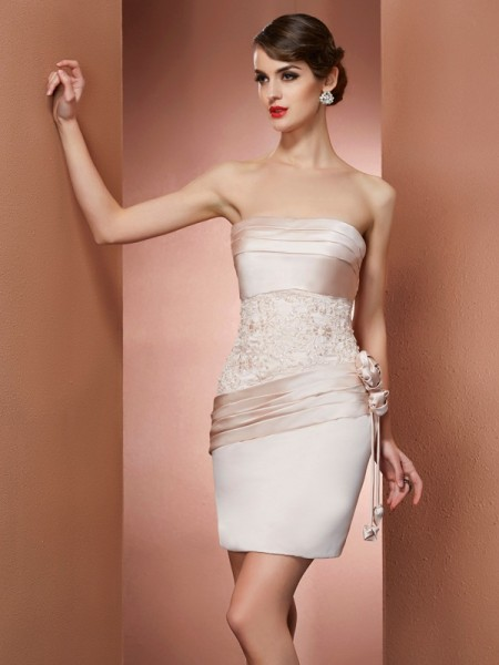 Sheath Strapless Hand-Made Flower Short Satin Homecoming Dresses