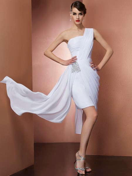 Sheath One-Shoulder Pleats Beading Short Chiffon Homecoming Dresses