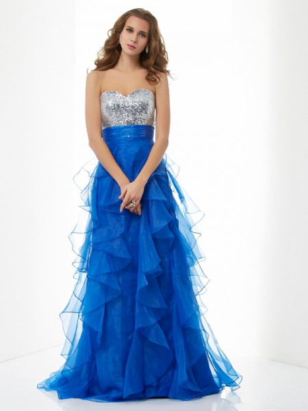 A-Line Sweetheart Paillette Satin Prom Dresses
