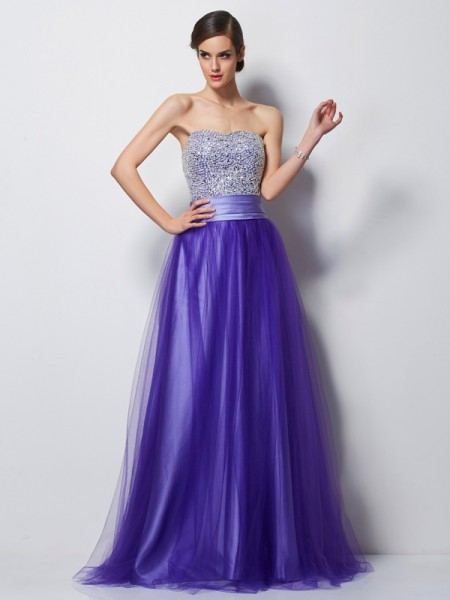 A-Line Sweetheart Beading Net Prom Dresses