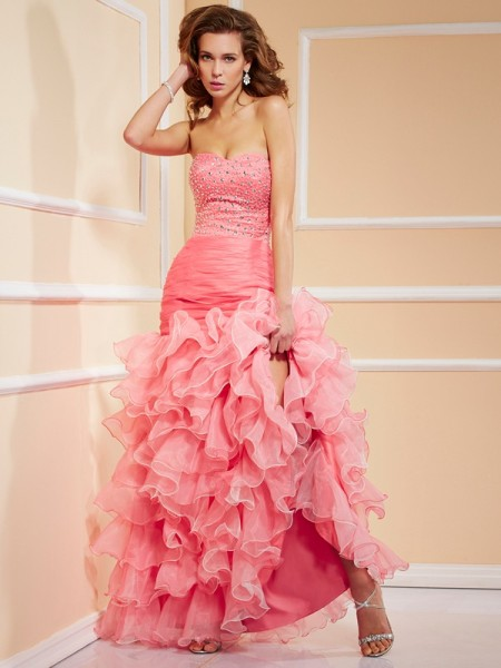Mermaid Sweetheart Ruffles High Low Organza Prom Dresses