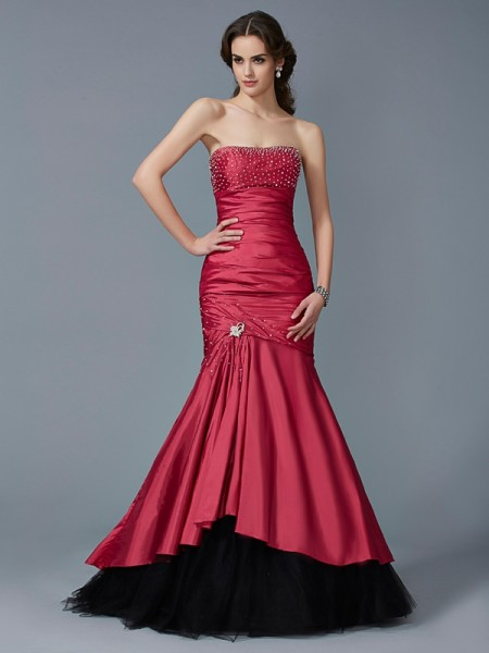 Mermaid Strapless Beading Taffeta Prom Dresses
