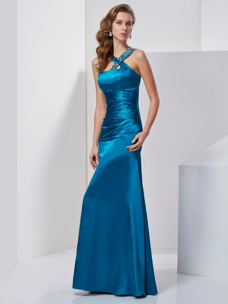 Sheath Straps Beading Silk like Satin Prom Dresses
