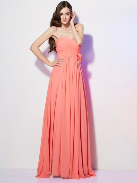 A-Line Sweetheart Hand-Made Flower Chiffon Prom Dresses