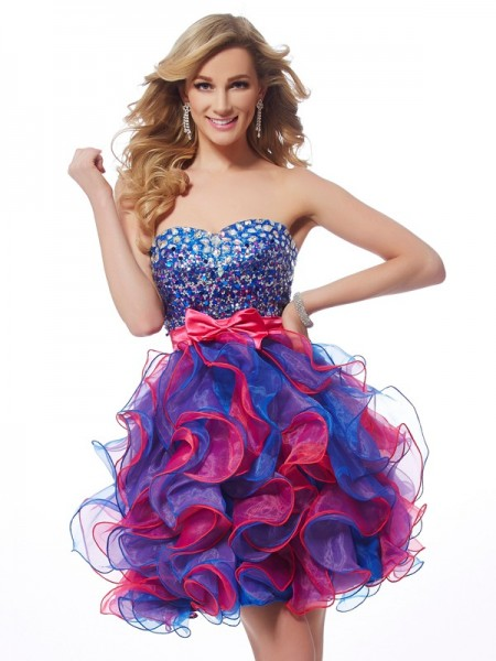 A-Line Sweetheart Sequin Short Organza Homecoming Dresses