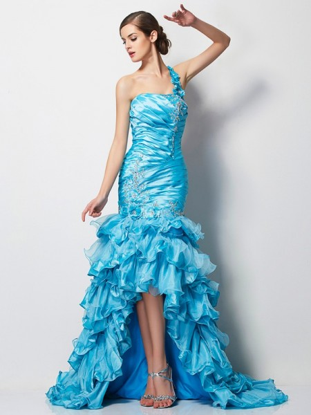 Mermaid One-Shoulder Beading High Low Taffeta Prom Dresses