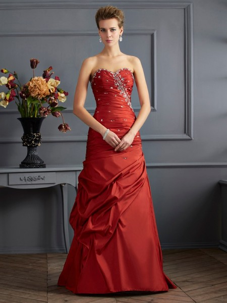 Mermaid Sweetheart Beading Taffeta Prom Dresses
