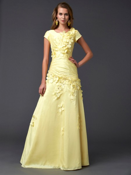 Sheath Scoop Taffeta Prom Dresses