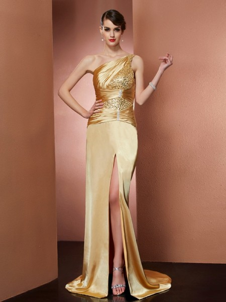 Sheath One-Shoulder Beading Elastic Woven Satin Prom Dresses