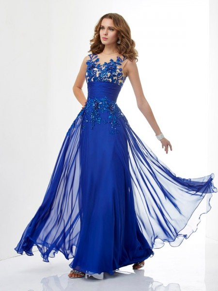 A-Line High Neck Beading Chiffon Prom Dresses