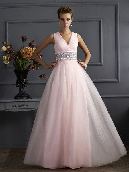 V-neck Beading Net Ball Gown Prom Dresses